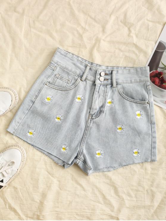 Shorts Bordado com Margarida - Azul claro M