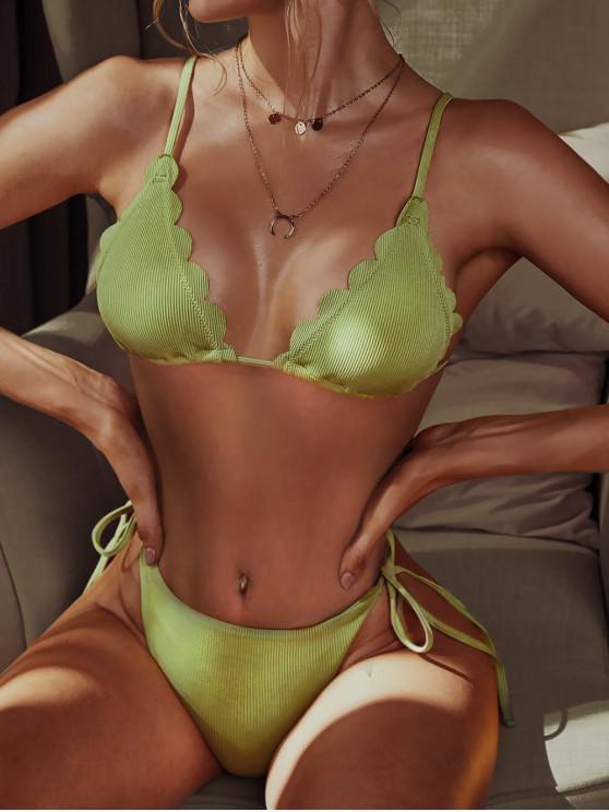 womens ZAFUL Ribbed Scalloped String Bikini Swimsuit - PISTACHIO GREEN L
