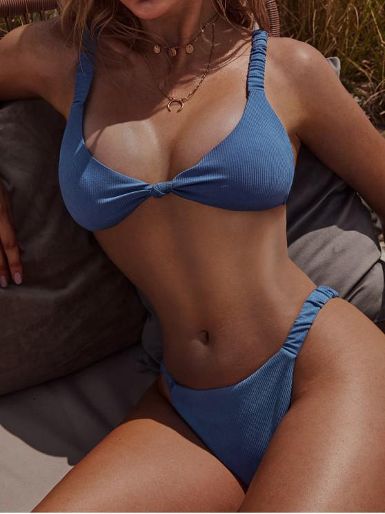 best ZAFUL Knot Elastic Strap Ribbed Bikini Swimsuit - SKY BLUE S