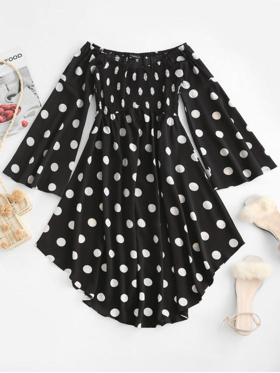 women ZAFUL Polka Dot Flare Sleeve Off Shoulder Dress - BLACK L