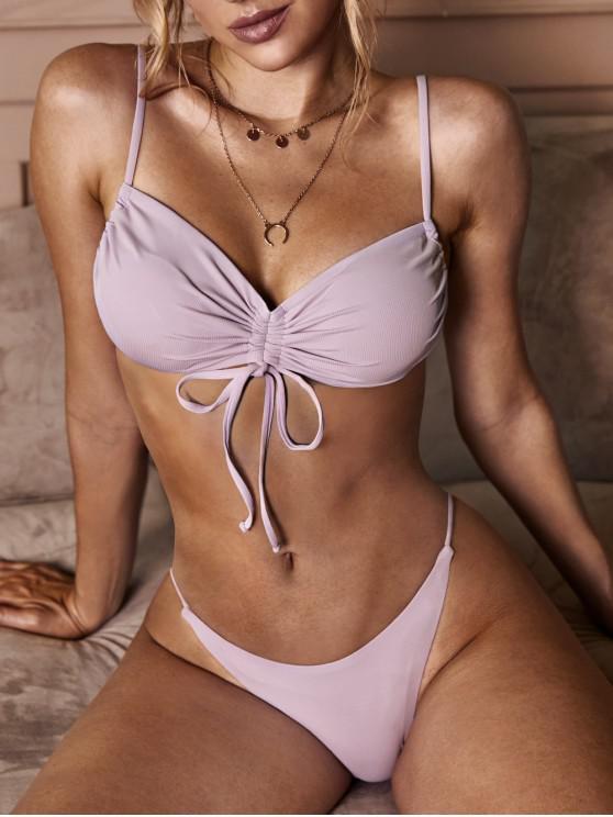 trendy ZAFUL Purple Fairy Cinched Bikini Swimwear - LIGHT PURPLE L