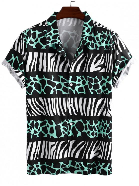 trendy Leopard and Zebra Print Vacation Shirt - GREEN 2XL
