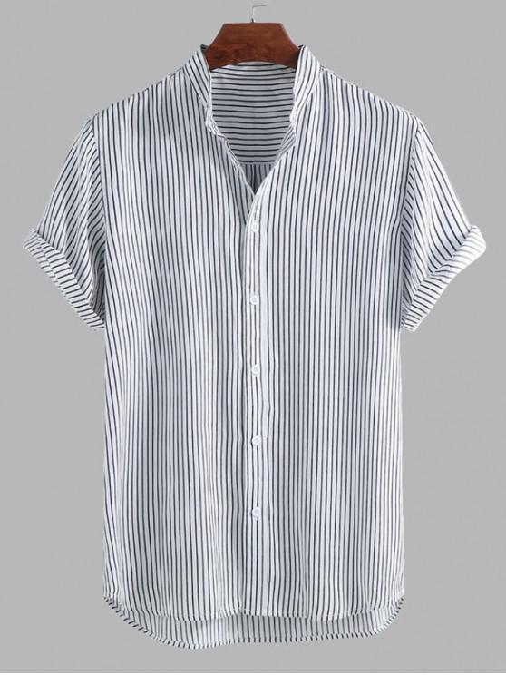 fancy Curved Hem Stripes Shirt - BLACK XL