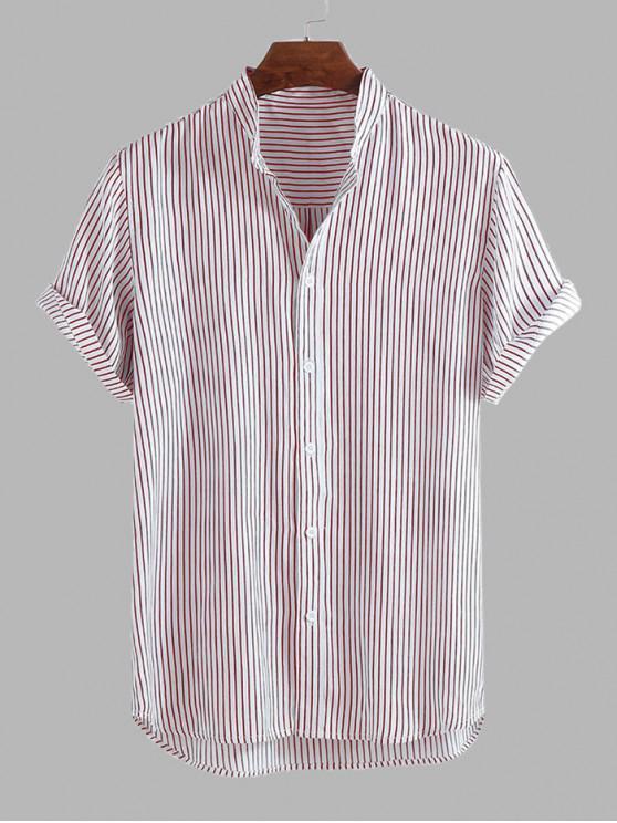Curved Hem Stripes Shirt - وردي فاتح XL