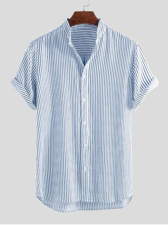 unique Curved Hem Stripes Shirt - BLUE 2XL