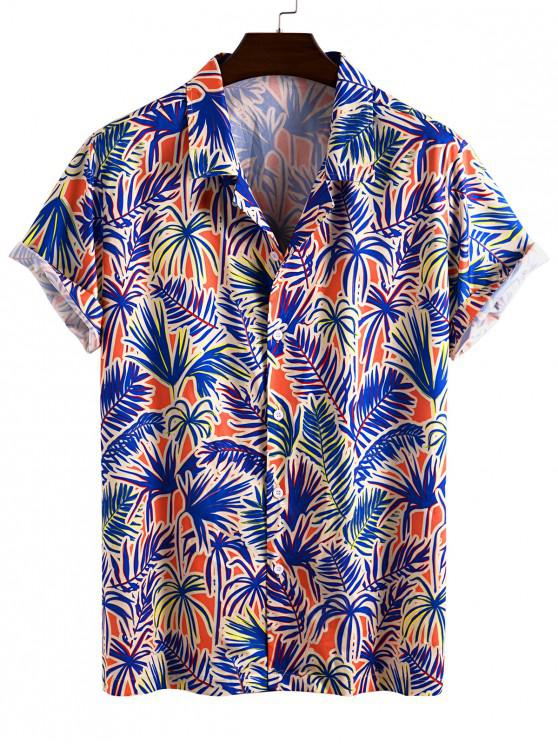 outfits Tropical Leaf Allover Pattern Vacation Shirt - BLUE 2XL