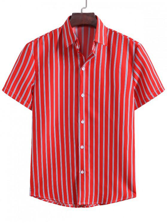 best Vertical Stripes Casual Shirt - LAVA RED 2XL