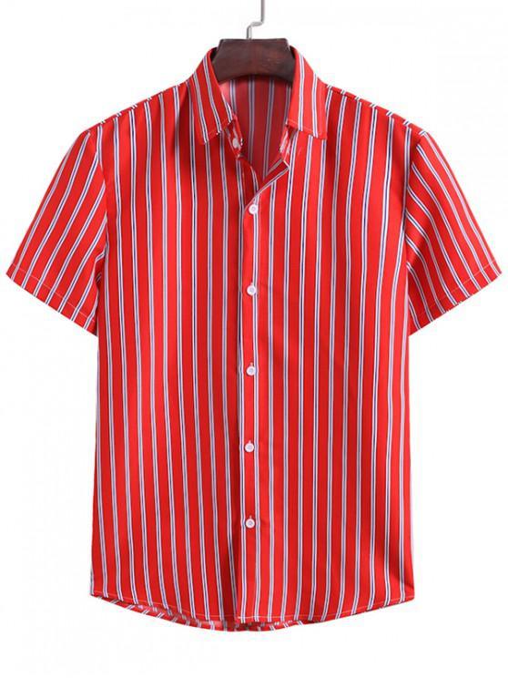 Camisa de Listra Vertical - Lava Vermelha 2XL