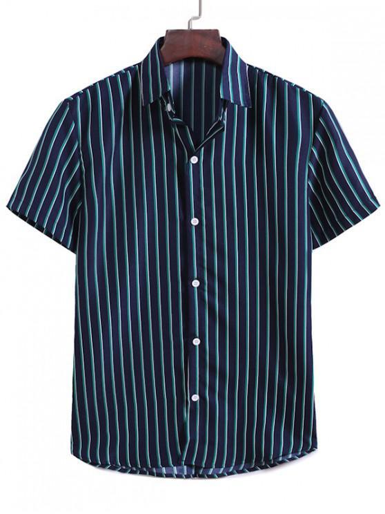 sale Vertical Stripes Casual Shirt - MIDNIGHT BLUE XL