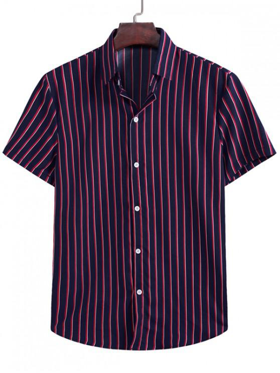 women's Vertical Stripes Casual Shirt - CADETBLUE XL
