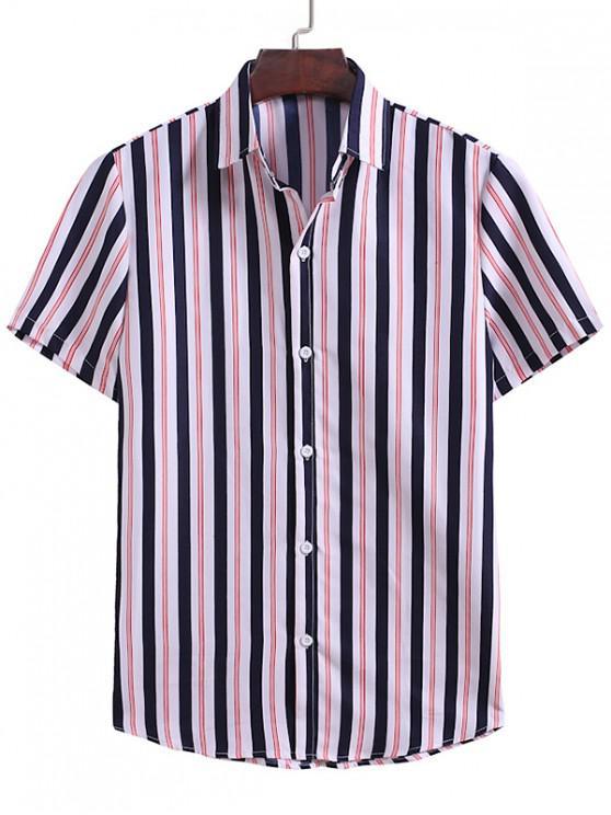 women's Vertical Striped Pattern Button Down Shirt - MULTI-B 3XL