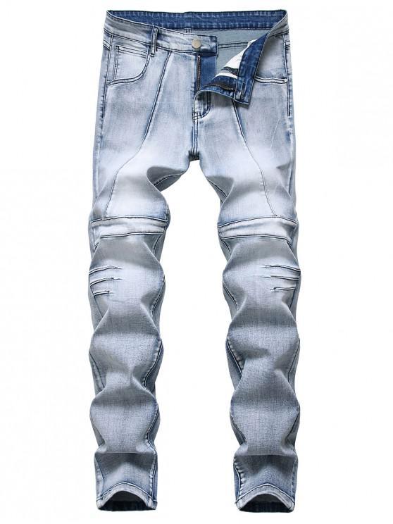Jeans Cónicos de Costuras de Lavado Claro - Azul Claro 38