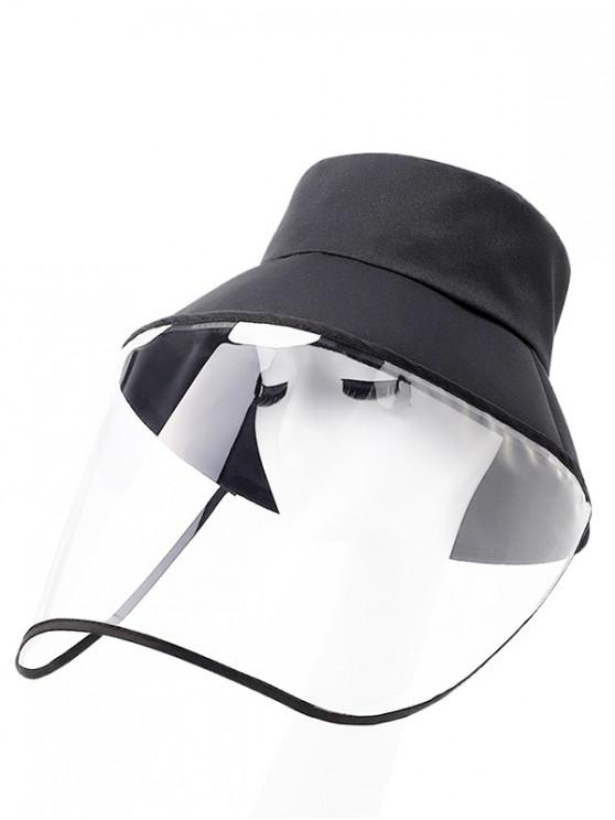 lady Detachable Face Shield Outdoor Protective Bucket Hat - BLACK
