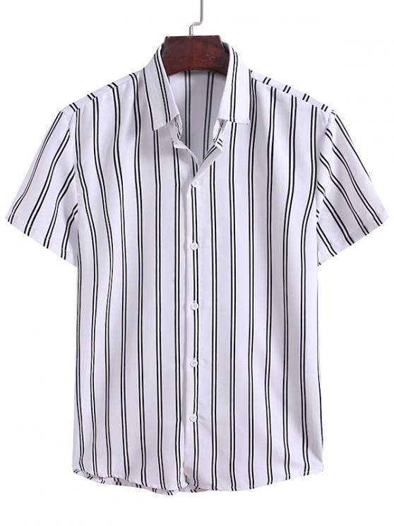 Camisa Rayas Verticales Abotonada - Blanco M