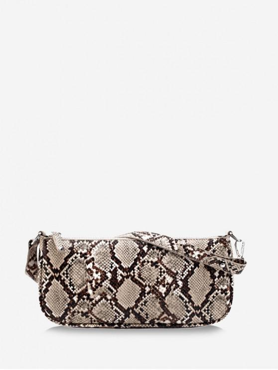 best Snake Print Leather One Shoulder Bag - LIGHT COFFEE