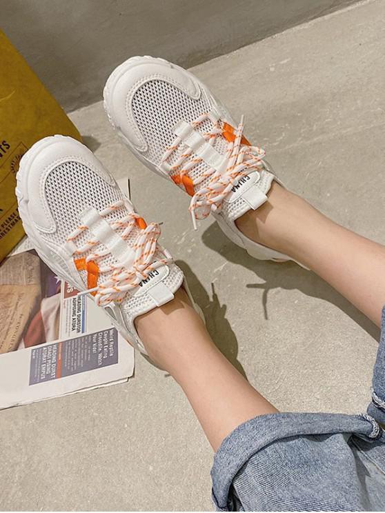womens Contrast Trim Breathable Mesh Skate Sneakers - PUMPKIN ORANGE EU 40