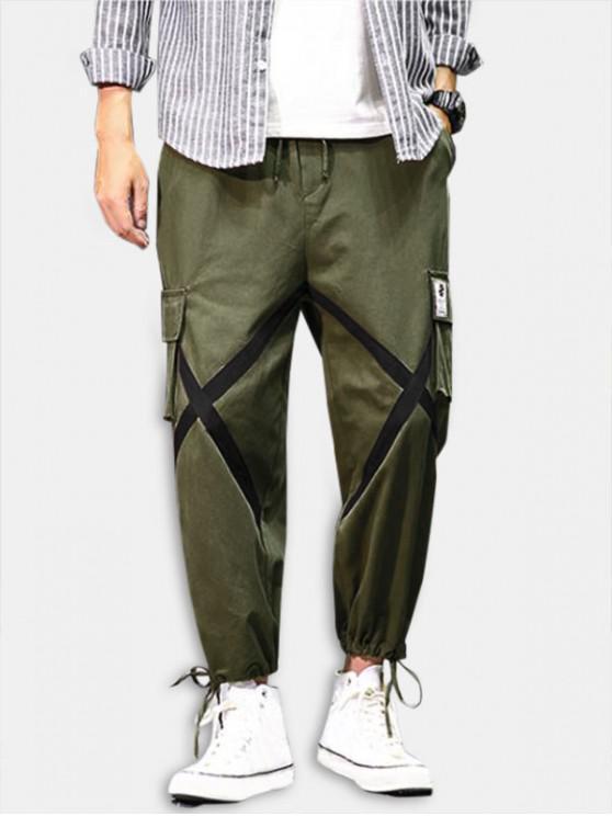 Cross Flap Pocket Cargo Jogger Pants - الجيش الأخضر M