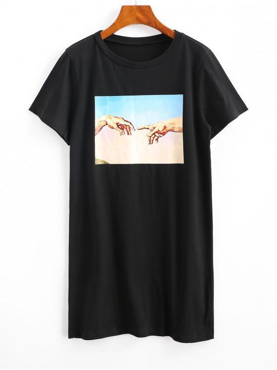 buy ZAFUL Casual Gesture Graphic T-shirt Dress - BLACK M