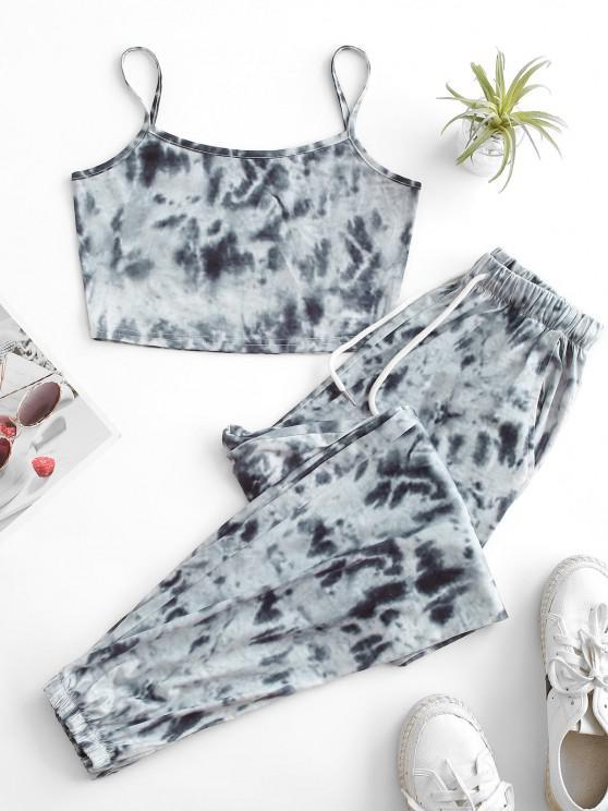 womens ZAFUL Tie Dye Pocket Drawstring Jogger Pants Set - GRAY S
