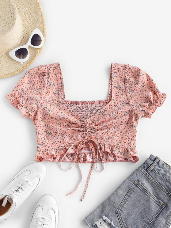 latest ZAFUL Ditsy Print Smocked Ruffle Cinched Crop Blouse - PINK ROSE M