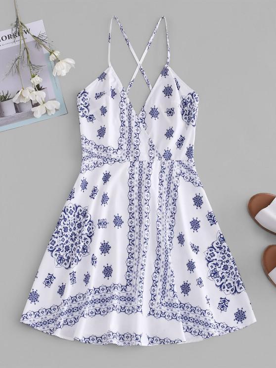 latest ZAFUL Crisscross Scarf Print Mini Dress - WHITE S