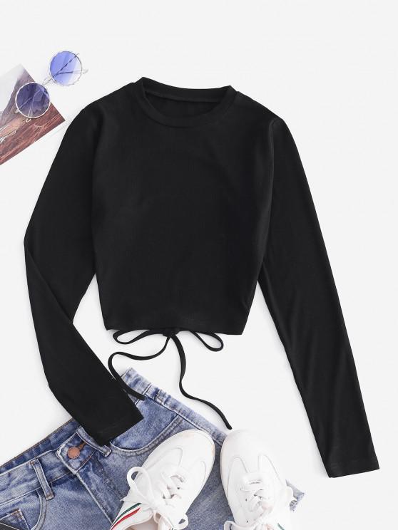 women ZAFUL Self Tie Open Back Knit Tee - BLACK M