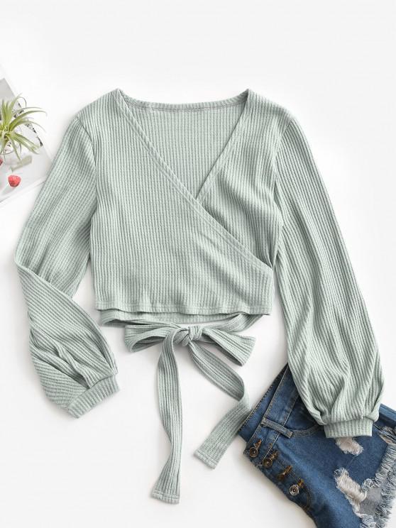 Knit Long Sleeve Wrap Top - أخضر M