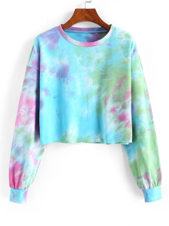 ZAFUL Tie Dye Drop Shoulder Raw Hem Sweatshirt - متعددة-A S