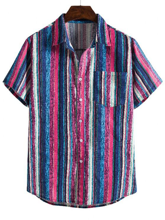 new Colorful Striped Pocket Short Sleeve Linen Shirt - BLUE XL
