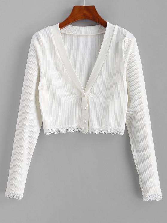 fashion ZAFUL Ribbed Lace Insert Button Up Plunging T-shirt - WHITE XL