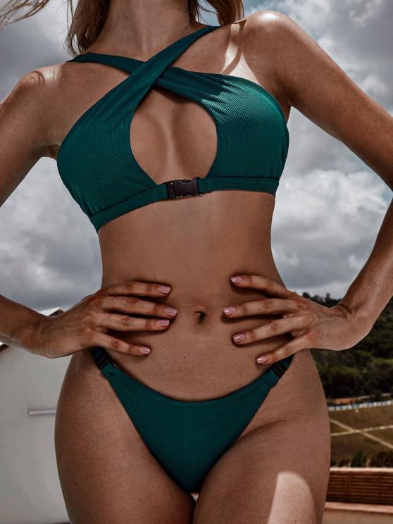 ZAFUL Crossover Buckled Ribbed Bikini Swimwear - ازرق مخضر L