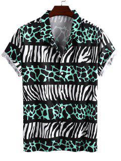 Leopard And Zebra Print Vacation Shirt - Green M