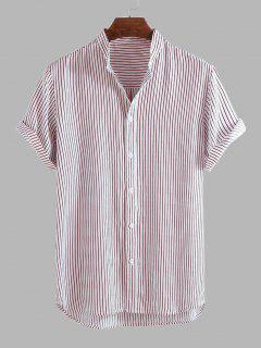 Curved Hem Stripes Shirt - Light Pink L