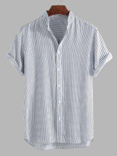 Curved Hem Stripes Shirt - Black M