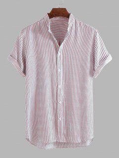 Camisa A Rayas Dobladillo Curvado - Rosa Claro M