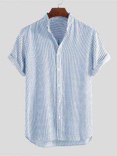 Curved Hem Stripes Shirt - Blue M