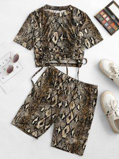 ZAFUL Snake Print Cinched Front Biker Shorts Set - Deep Coffee M