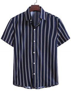 Vertical Striped Pattern Button Down Shirt - Midnight Blue M