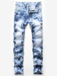 Marble Wash Zipper Fly Tapered Jeans - Light Blue 32