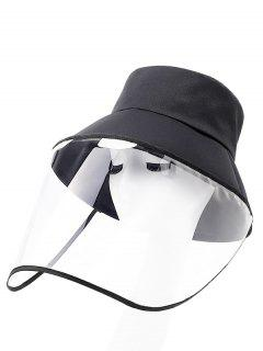 Detachable Face Shield Outdoor Protective Bucket Hat - Black