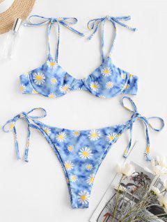 ZAFUL Daisy Print Underwire String Bikini Swimwear - Light Blue S