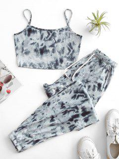 ZAFUL Tie Dye Pocket Drawstring Jogger Pants Set - Gray S