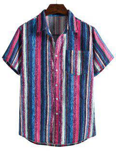 Colorful Striped Pocket Short Sleeve Linen Shirt - Blue Xl