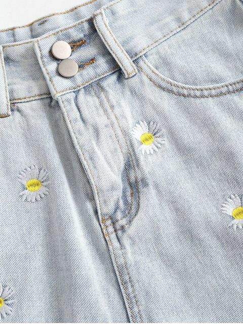 outfit Frayed Hem Daisy Embroidered Denim Shorts - LIGHT BLUE M Mobile
