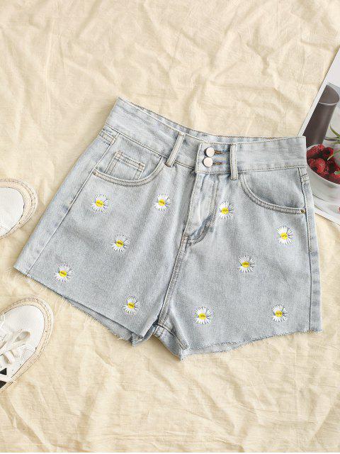 latest Frayed Hem Daisy Embroidered Denim Shorts - LIGHT BLUE L Mobile