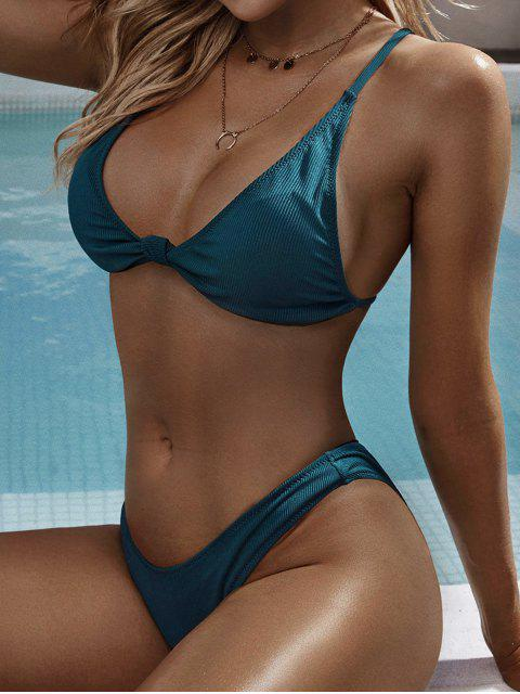 ladies ZAFUL Cheeky Ribbed Knot Bikini Swimsuit - PEACOCK BLUE M Mobile
