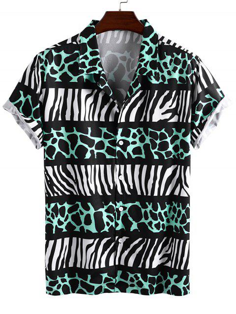 shop Leopard and Zebra Print Vacation Shirt - GREEN M Mobile