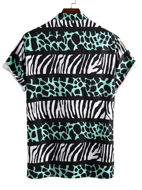 trendy Leopard and Zebra Print Vacation Shirt - GREEN 2XL Mobile