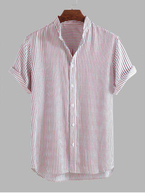 buy Curved Hem Stripes Shirt - LIGHT PINK L Mobile