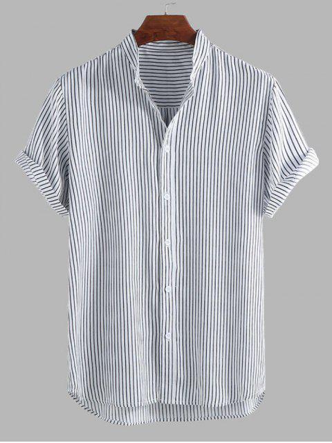 fancy Curved Hem Stripes Shirt - BLACK XL Mobile